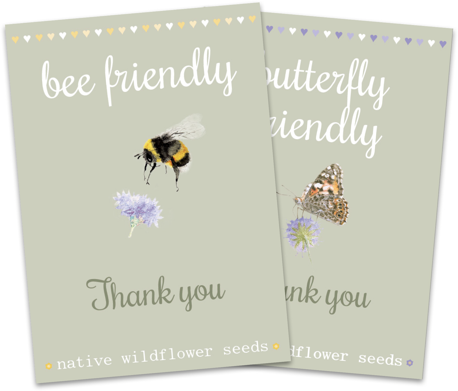 Image of Duo Pack of 'Thank you' Bee and Butterfly