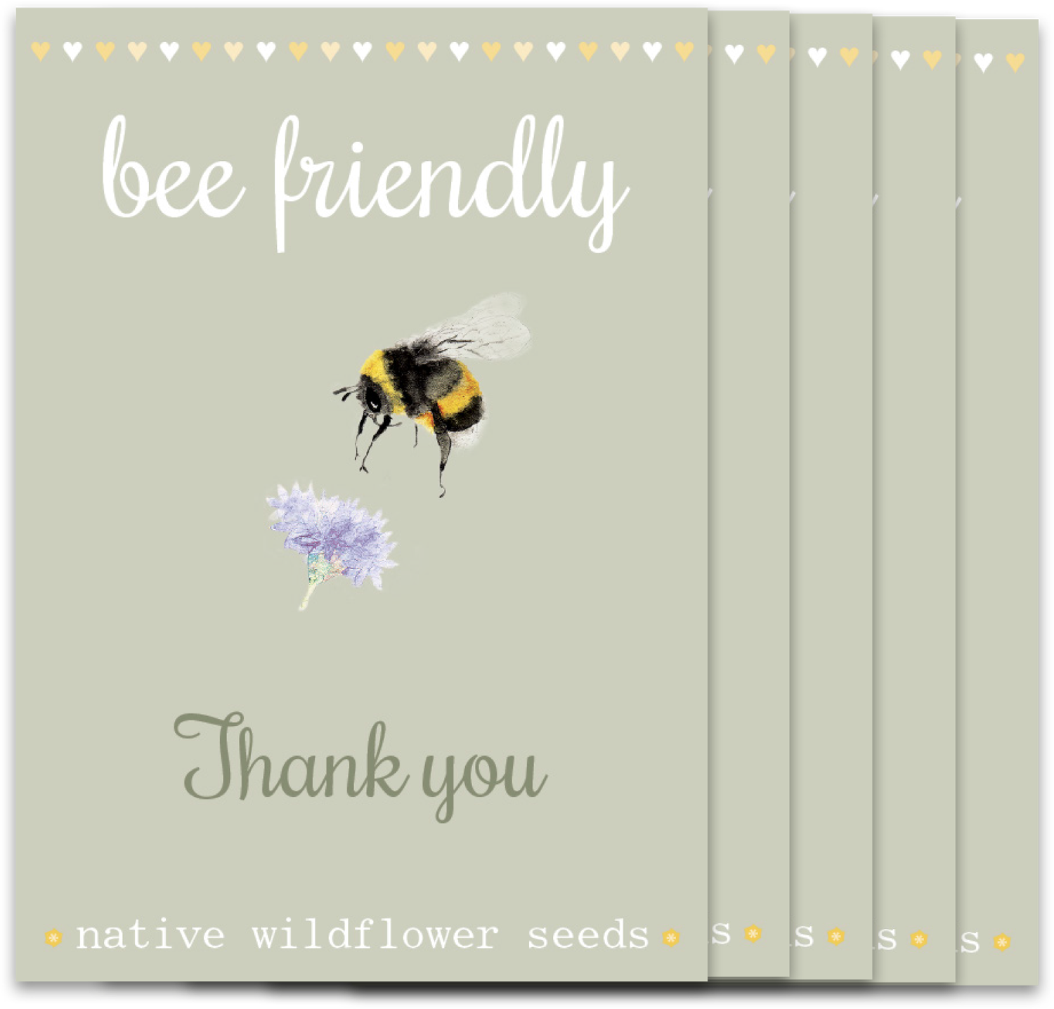 Image of Bumper 5 Pack of Bee 'Thank you'