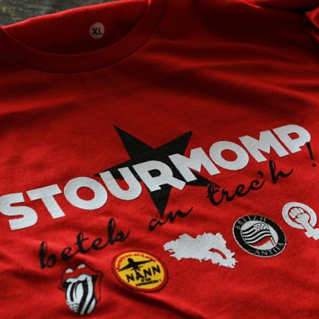 "Image of T-shirt rouge ""Stourmomp betek an trec'h !"""