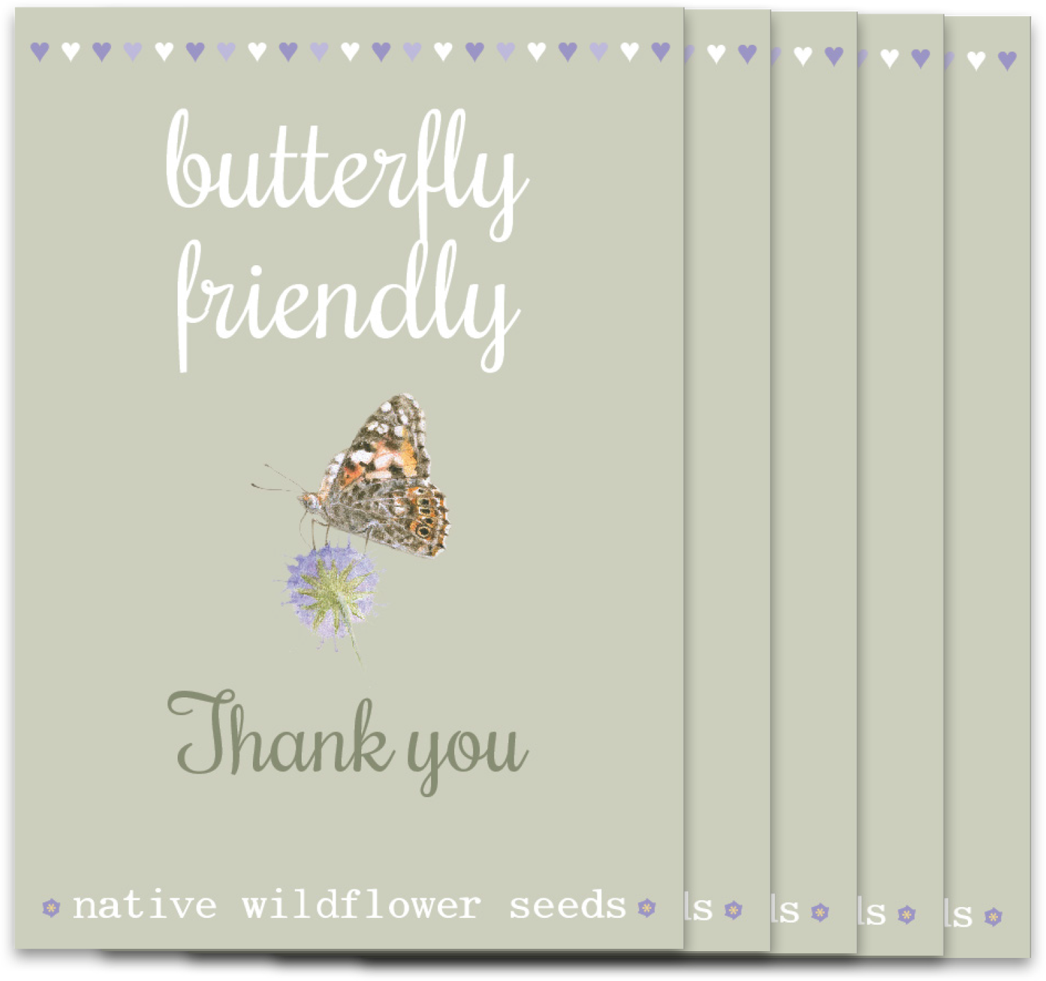 Image of Bumper 5 Pack of Butterfly 'Thank you'