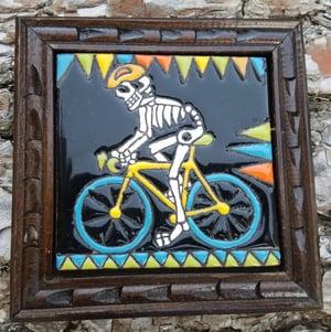 Image of Skeleton on Bicycle Coaster Tile
