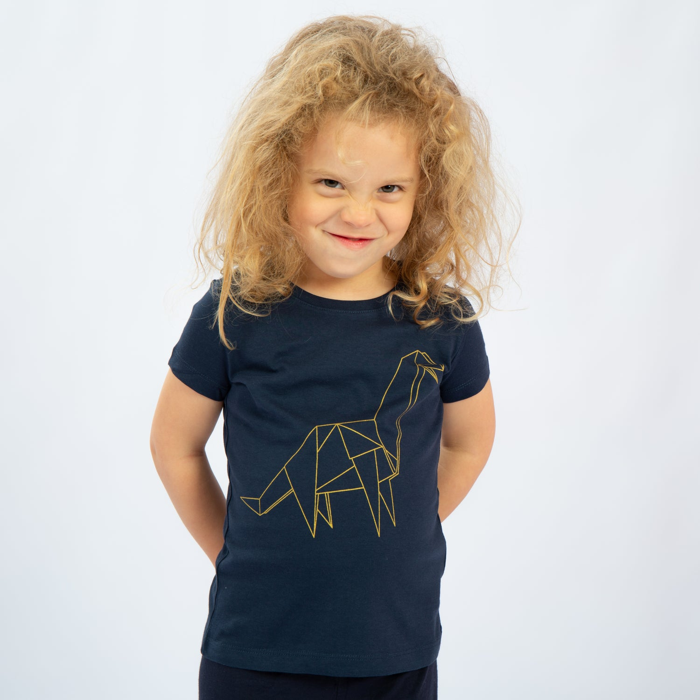 Image of T-SHIRT GIRL short sleeve DINO navy