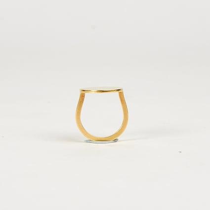 Image of Large Circle Signet Ring - 9 Carat Gold