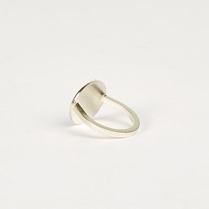 Image of Large Circle Signet Ring - Sterling Silver
