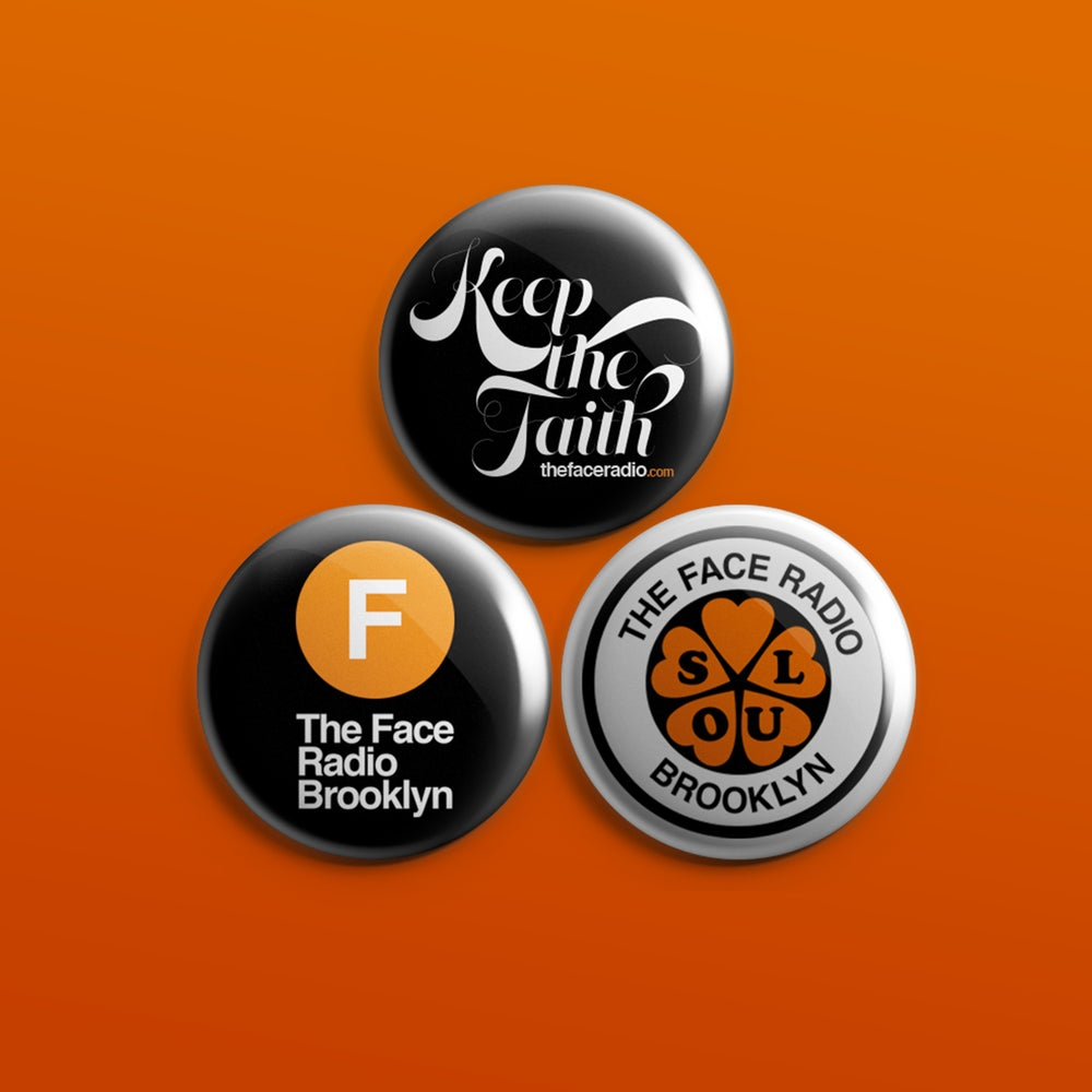 Image of The Face Radio Badge Set