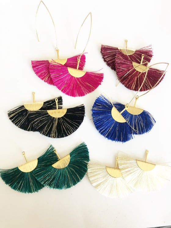 Image of Fan Tassel Earrings with gold speck