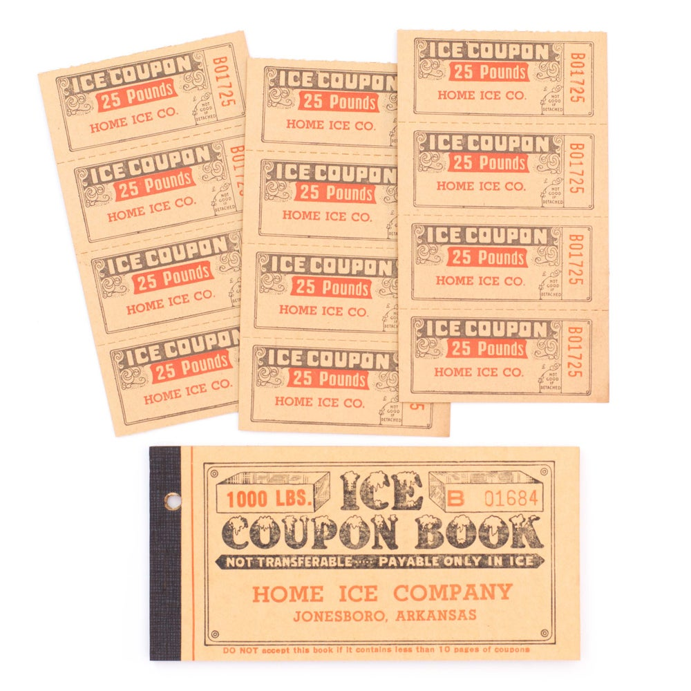 Image of 1950's Ice Coupon Ticket Booklet - Yellow