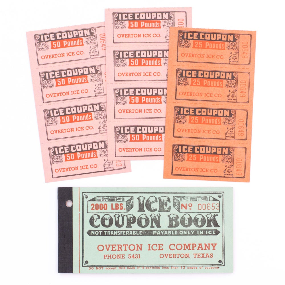 Image of 1950's Ice Coupon Ticket Booklet - Green Cover