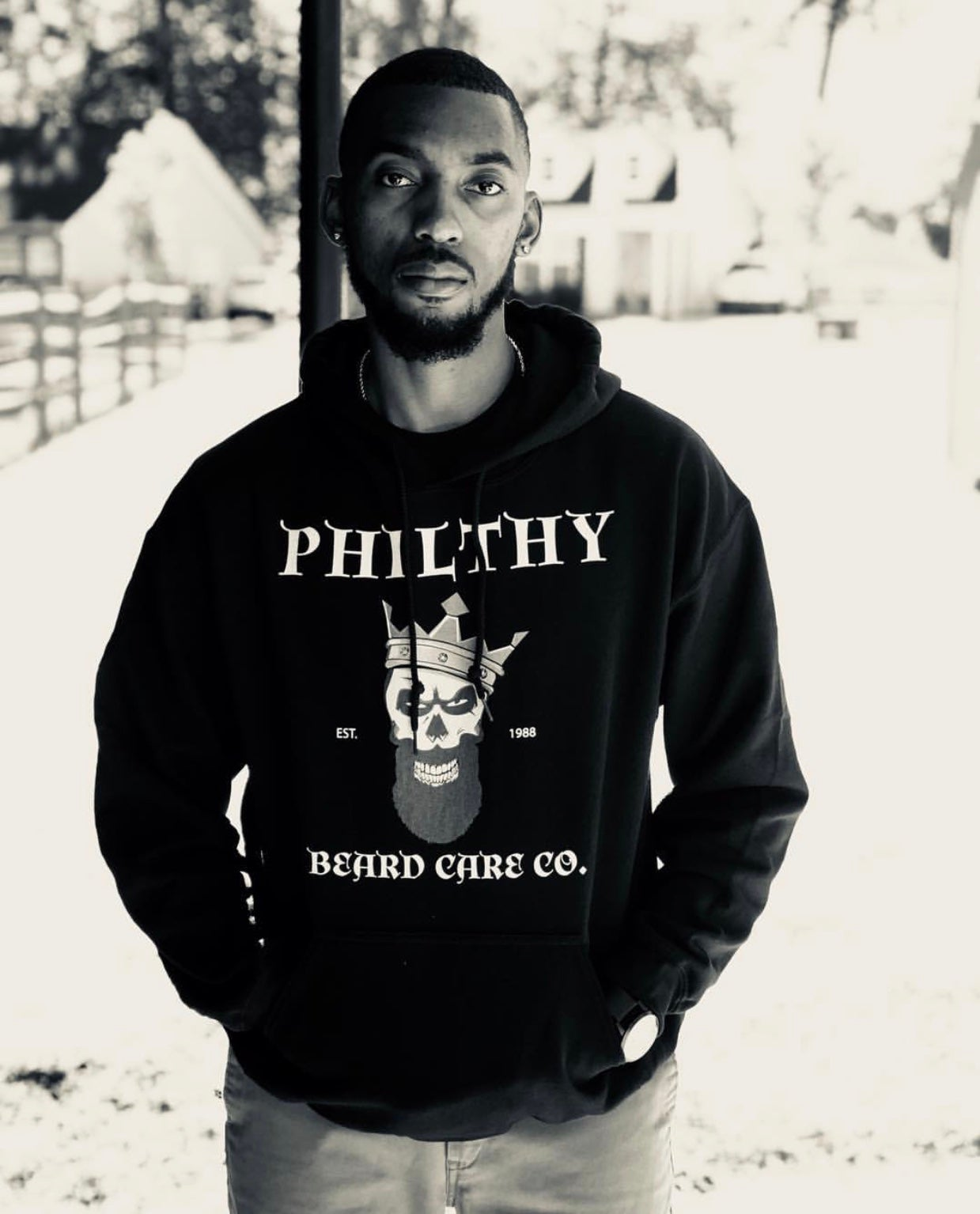 Image of Philthy Beard Care Co. Pull Over Hoodie (Black)