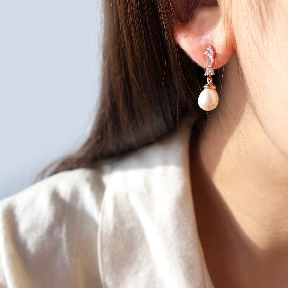 Image of Deco Pearl Drop Earring