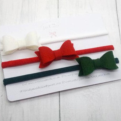 Image of Set of 3 Small Christmas Felt Bows - Choice of Headband or Clip