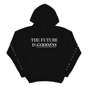 Image of SOLD OUT | BLACK FUTURE IS GODDESS FULL LENGTH HOODIE | OFFICIAL GLAM 3.0 RELEASE
