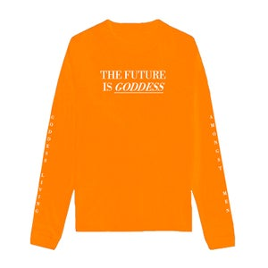 Image of SOLD OUT | NEON ORANGE FUTURE IS GODDESS LONG SLEEVE SHIRT | OFFICIAL GLAM 3.0 RELEASE