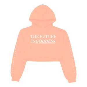 Image of SOLD OUT | PEACH FUTURE IS GODDESS CROP TOP HOODIE | OFFICIAL GLAM 3.0 RELEASE