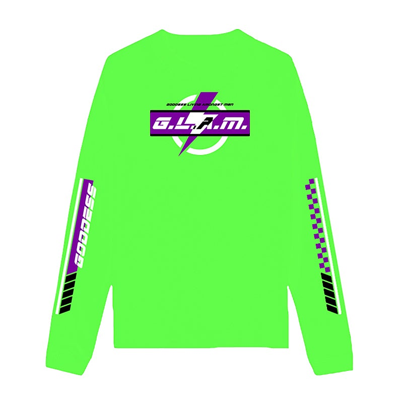 Image of SOLD OUT | NEON GREEN G.L.A.M. POWER LONG SLEEVE SHIRT | OFFICIAL GLAM 3.0 RELEASE