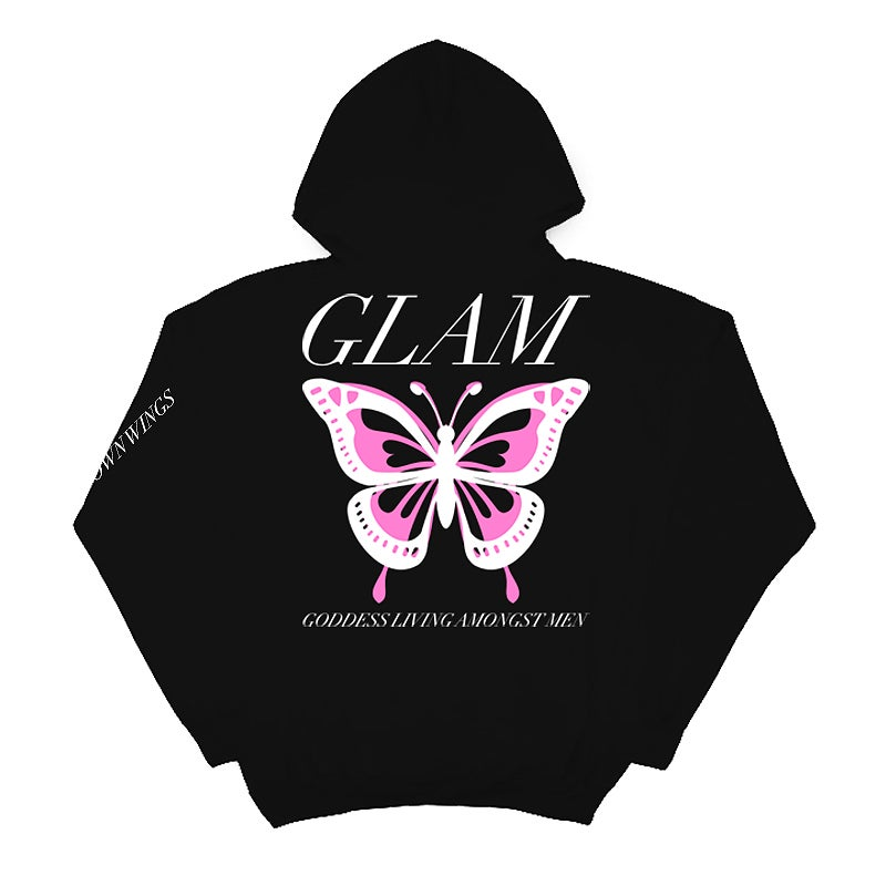 Image of SOLD OUT | BLACK BUTTERFLY EFFECT OFFICIAL FULL LENGTH HOODIE | OFFICIAL GLAM 3.0 RELEASE