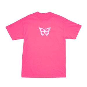 Image of SOLD OUT | NEON PINK BUTTERFLY EFFECT OFFICIAL TEE | OFFICIAL GLAM 3.0 RELEASE