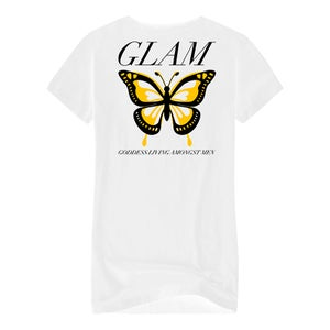 Image of SOLD OUT | WHITE BUTTERFLY EFFECT OFFICIAL LADIES FITTED TEE | | OFFICIAL GLAM 3.0 RELEASE
