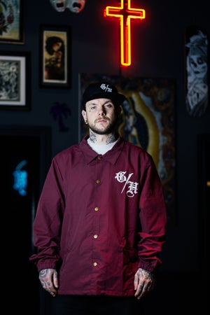 Image of Ghost House Coach Jacket - Maroon with White Print