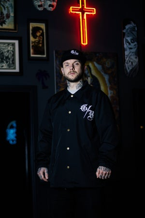 Image of Ghost House Coach Jacket - Black with White Print