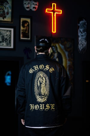 Image of Ghost House Coach Jacket - Black with Gold Print