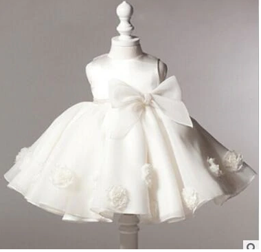 Image of Flower girl or christening dress with bow
