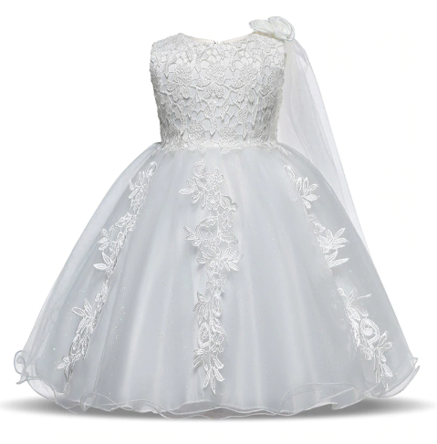 Image of White girls dress with lace