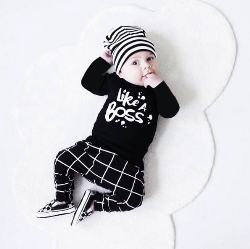 Image of Like a boss baby boy black and white set