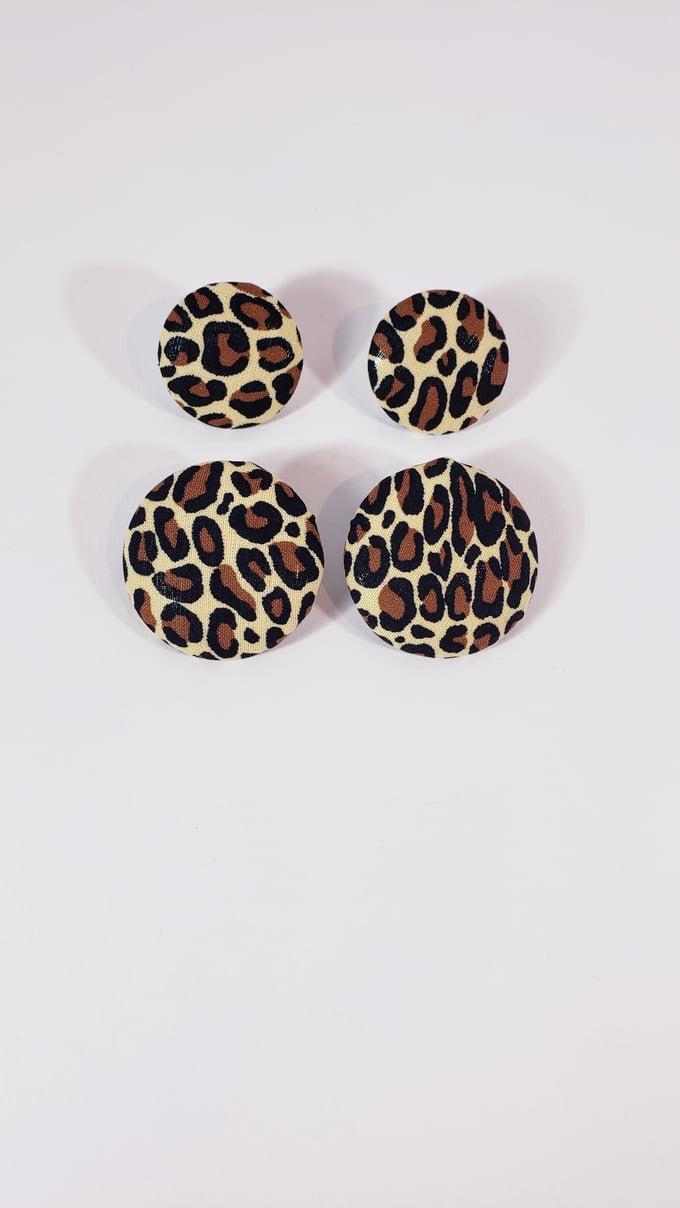 Image of Leopard Print Button Earrings