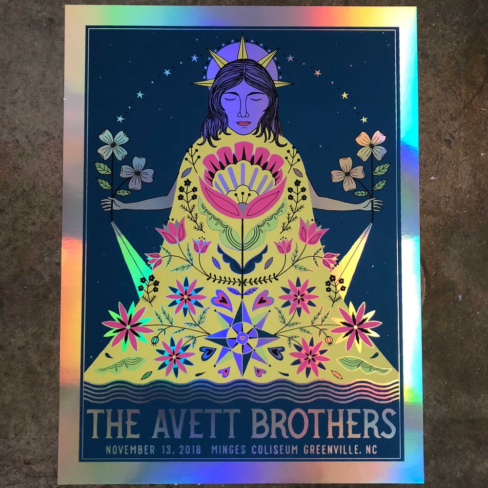 Image of The Avett Brothers Greenville Rainbow Foil Variant