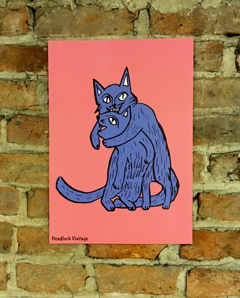 Image of 2 Cats Headlock Illustration A3 Poster