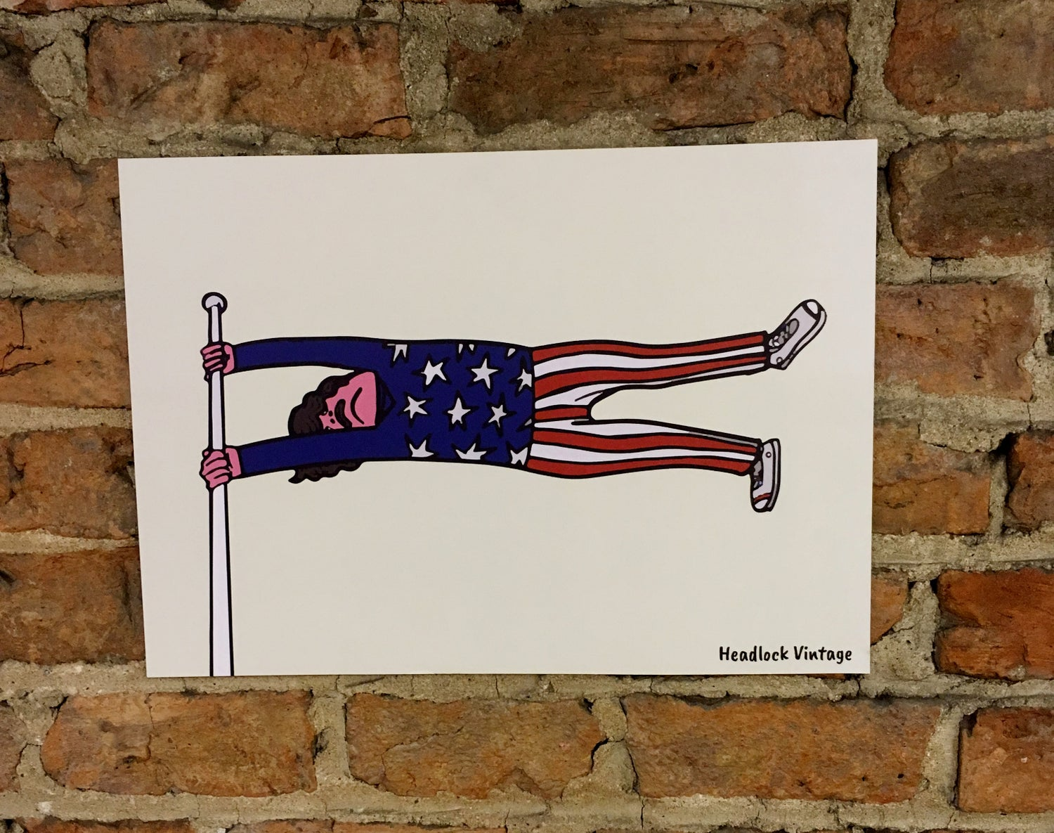 Image of American Flag Man Illustration A3 Poster