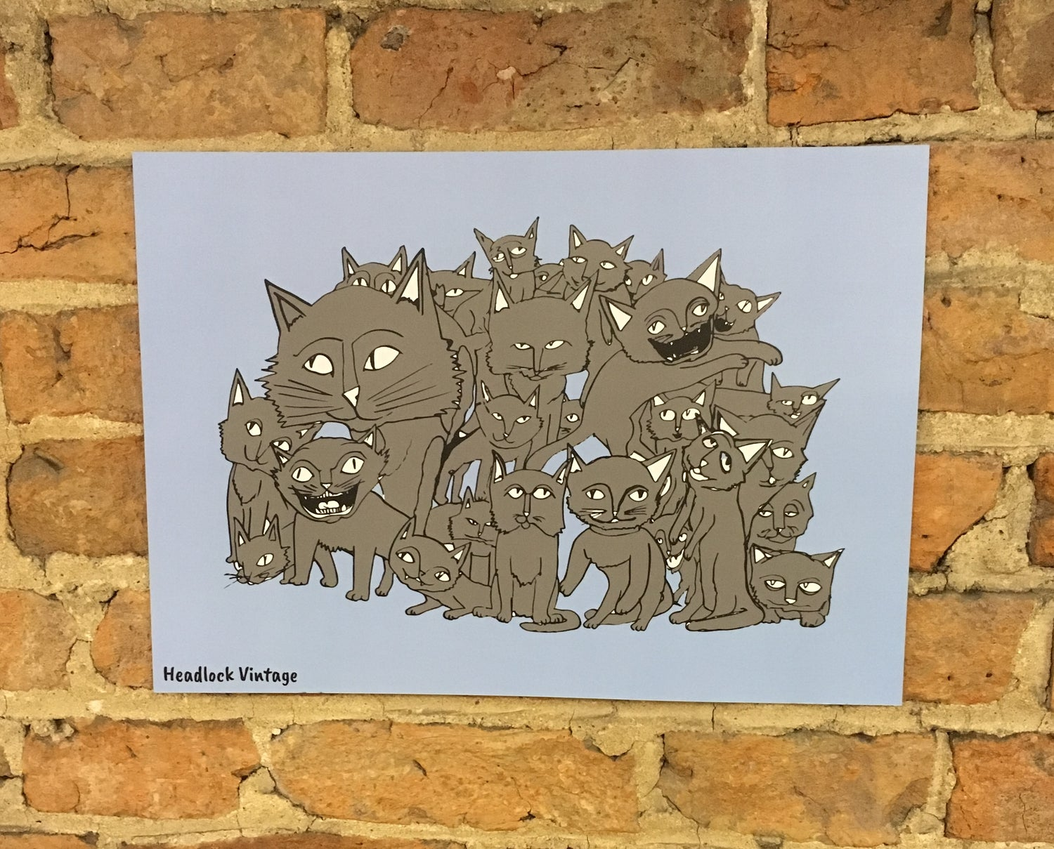 Image of Group of cats Illustration A3 Poster