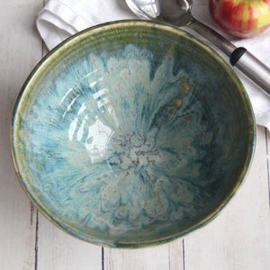 Image of Rustic Textured Green Serving Bowl, Stoneware Pottery Made in USA