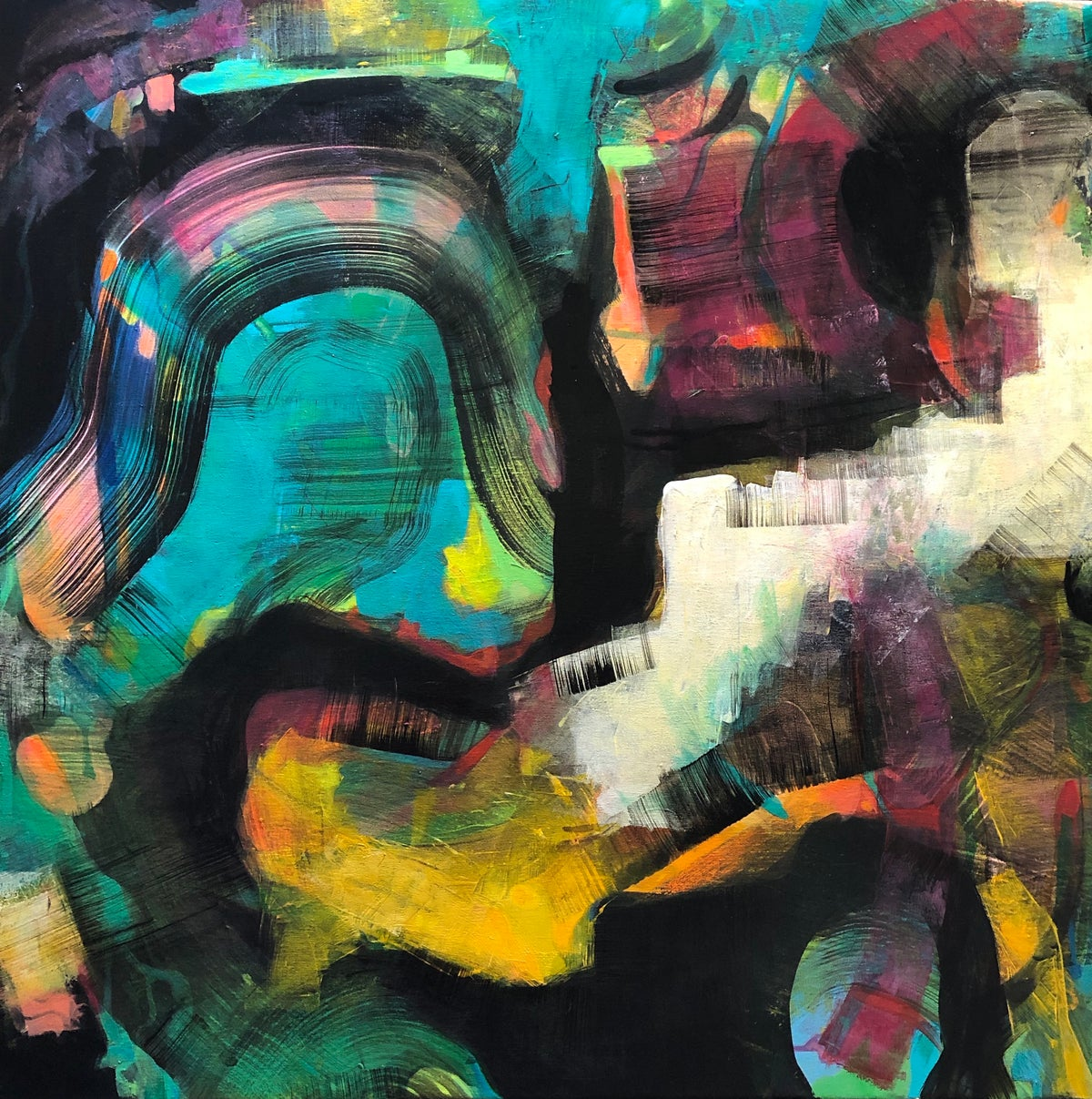 Image of Too Much Caffeine - original abstract painting on canvas