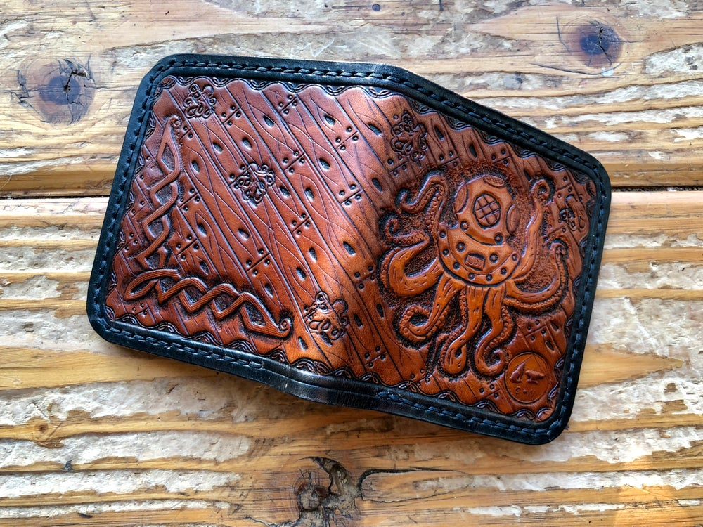 "Image of ""Octo-Diver"" Custom Bi-Fold Wallet with Cash Slot and Four Card Slots."