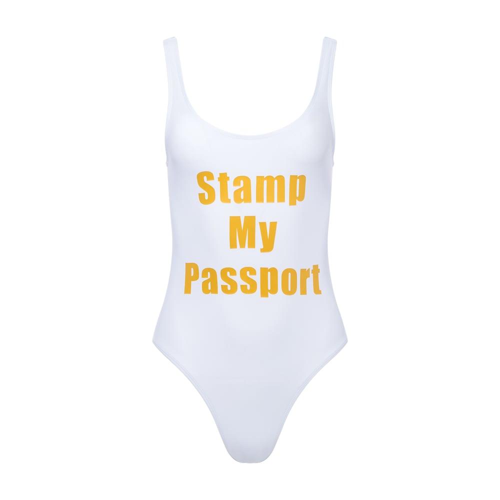 Image of Stamp My Passport High Cut Swimsuit