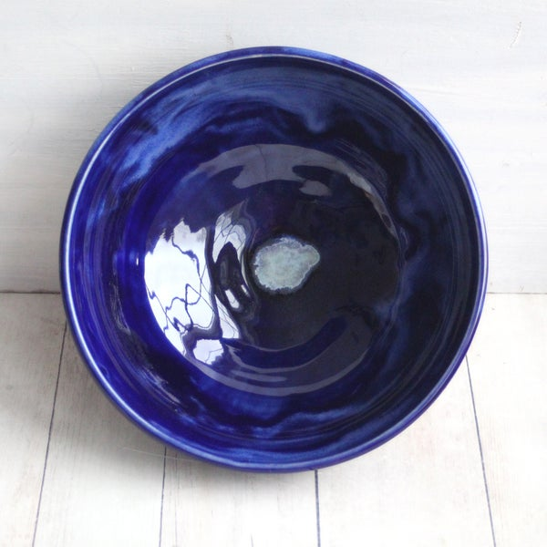 Image of Shiny Dark Blue Serving Bowl Handcrafted Pottery Bowl Made in USA