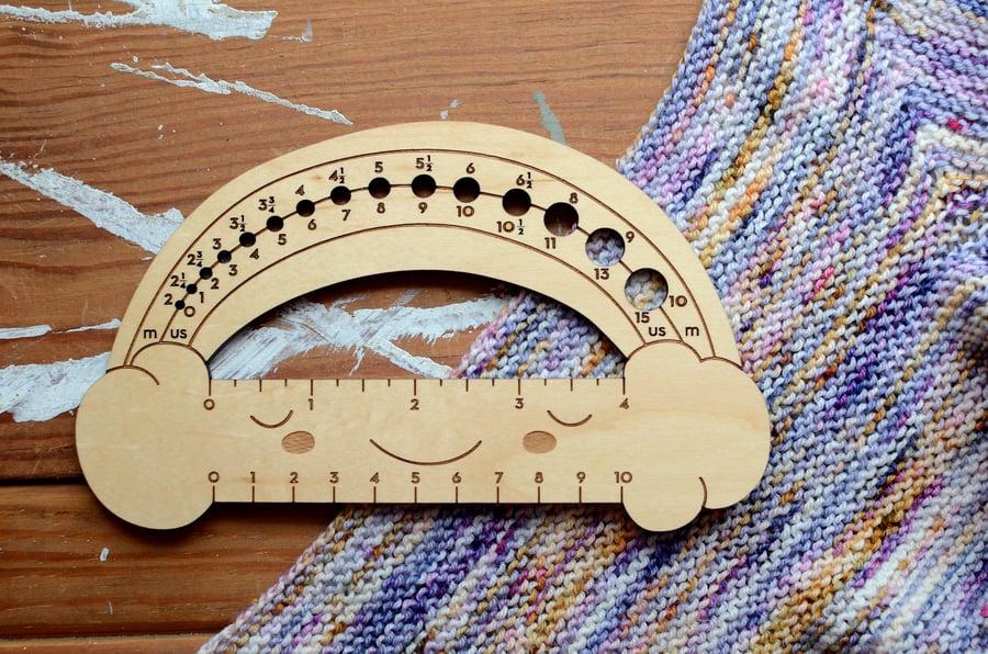 Image of Needle/Knitting Gauge Measuring Tool - Maple