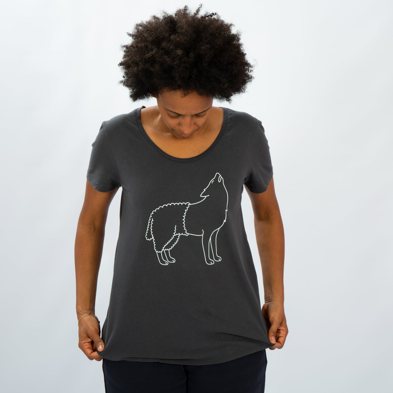 Image of T-SHIRT WOMAN short sleeve WOLFSHEEP grey