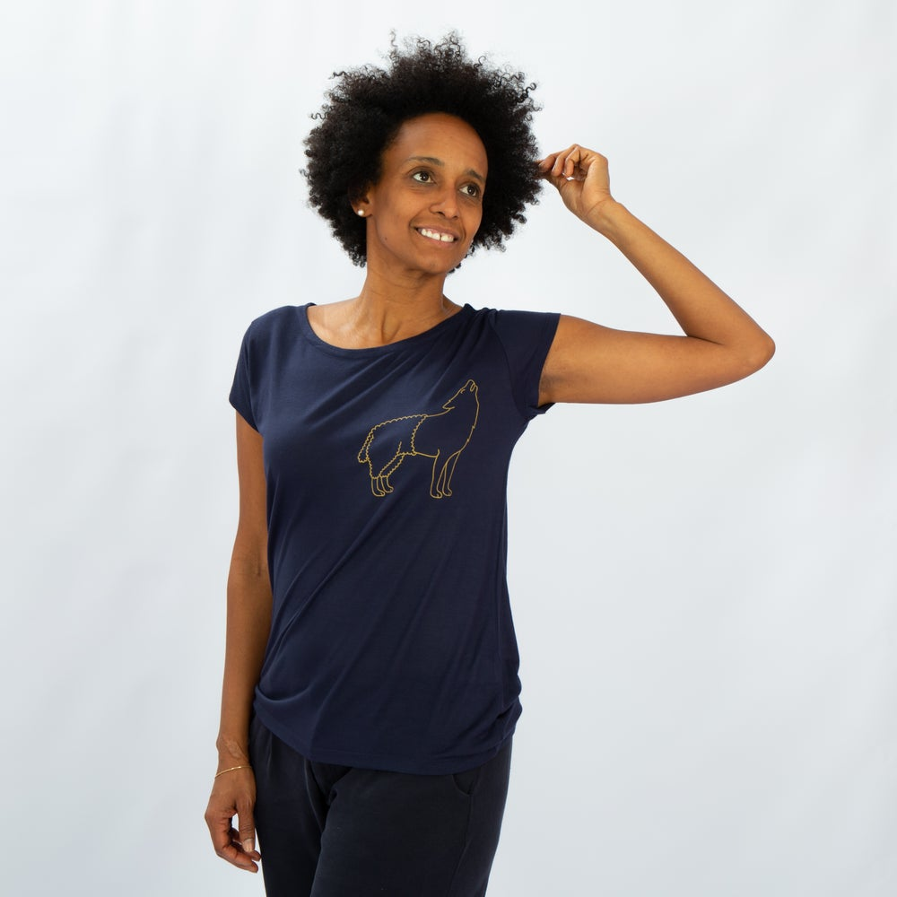 Image of T-SHIRT WOMAN short sleeve WOLFSHEEP navy