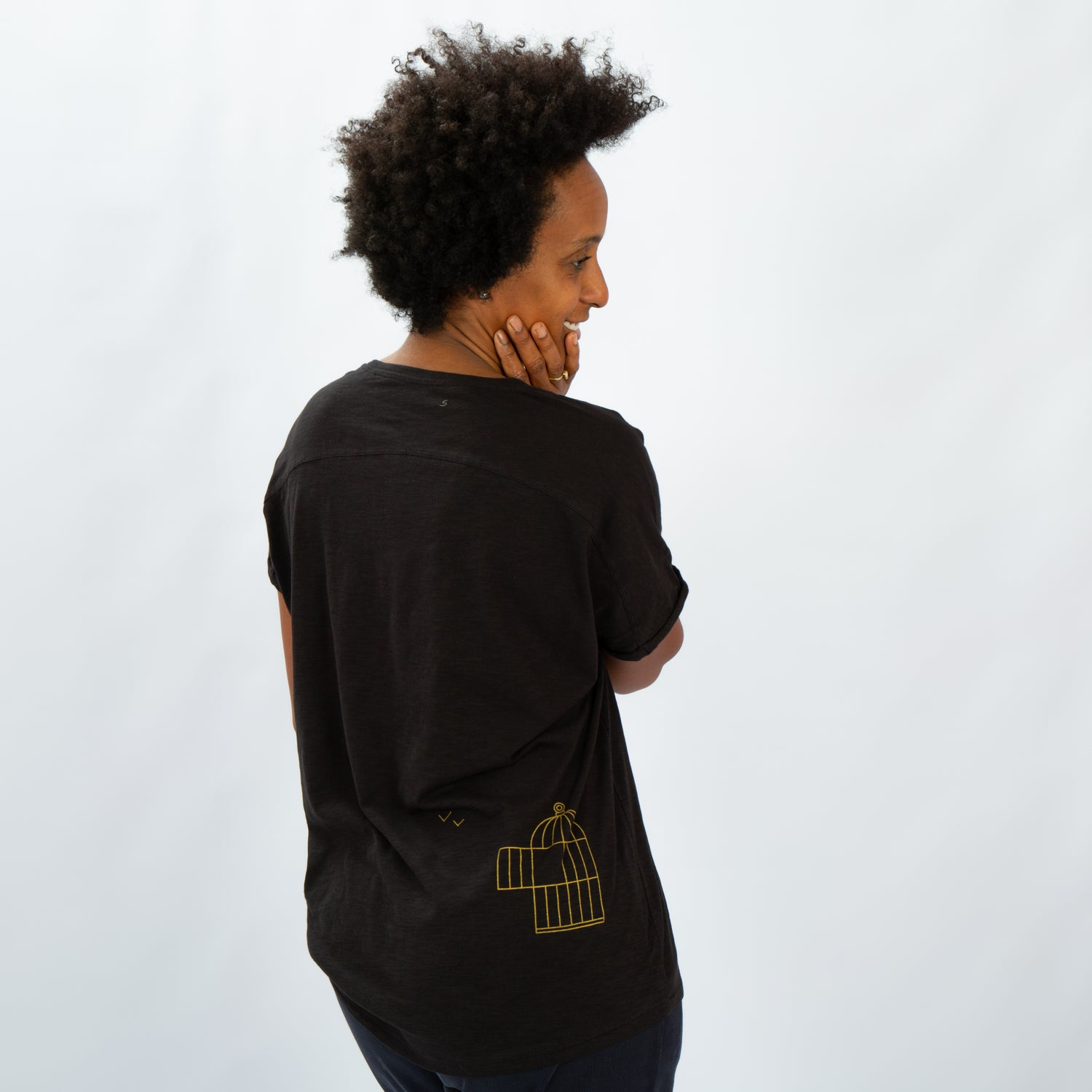 Image of T-SHIRT WOMAN short sleeve BIRDCAGE (on the back) black