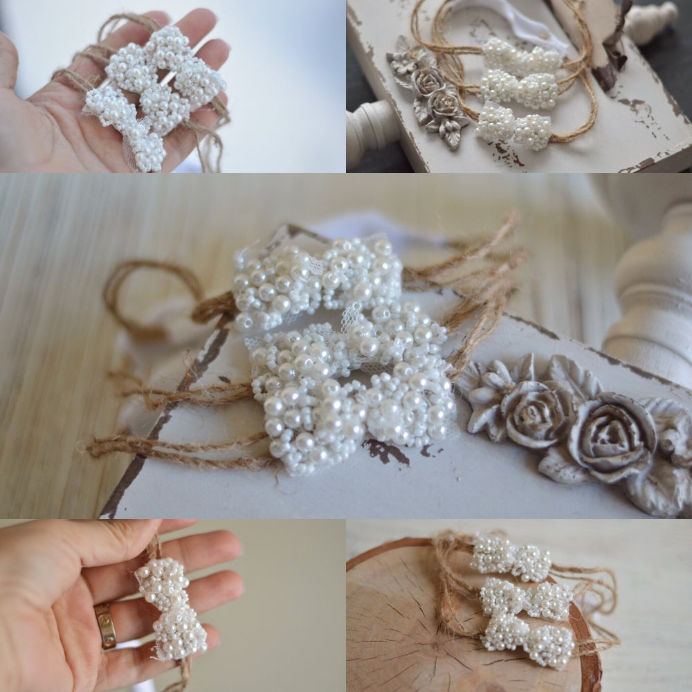 Image of Pearls and beads bow headband