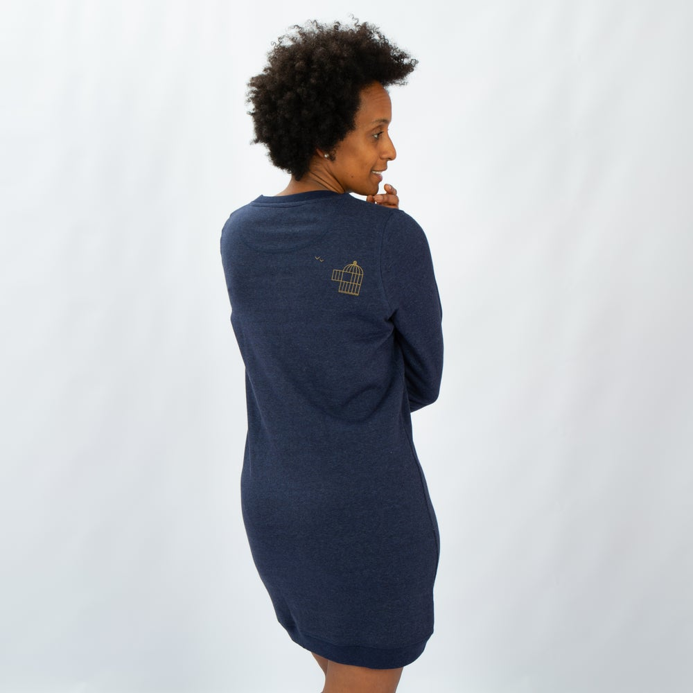 Image of SWEATER DRESS WOMAN long sleeve BIRDCAGE (on the back) blue