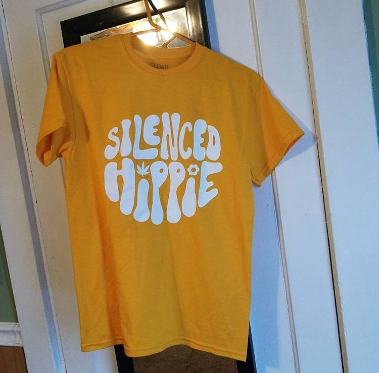 Image of Silenced Hippie T-Shirt // Yellow, White Font