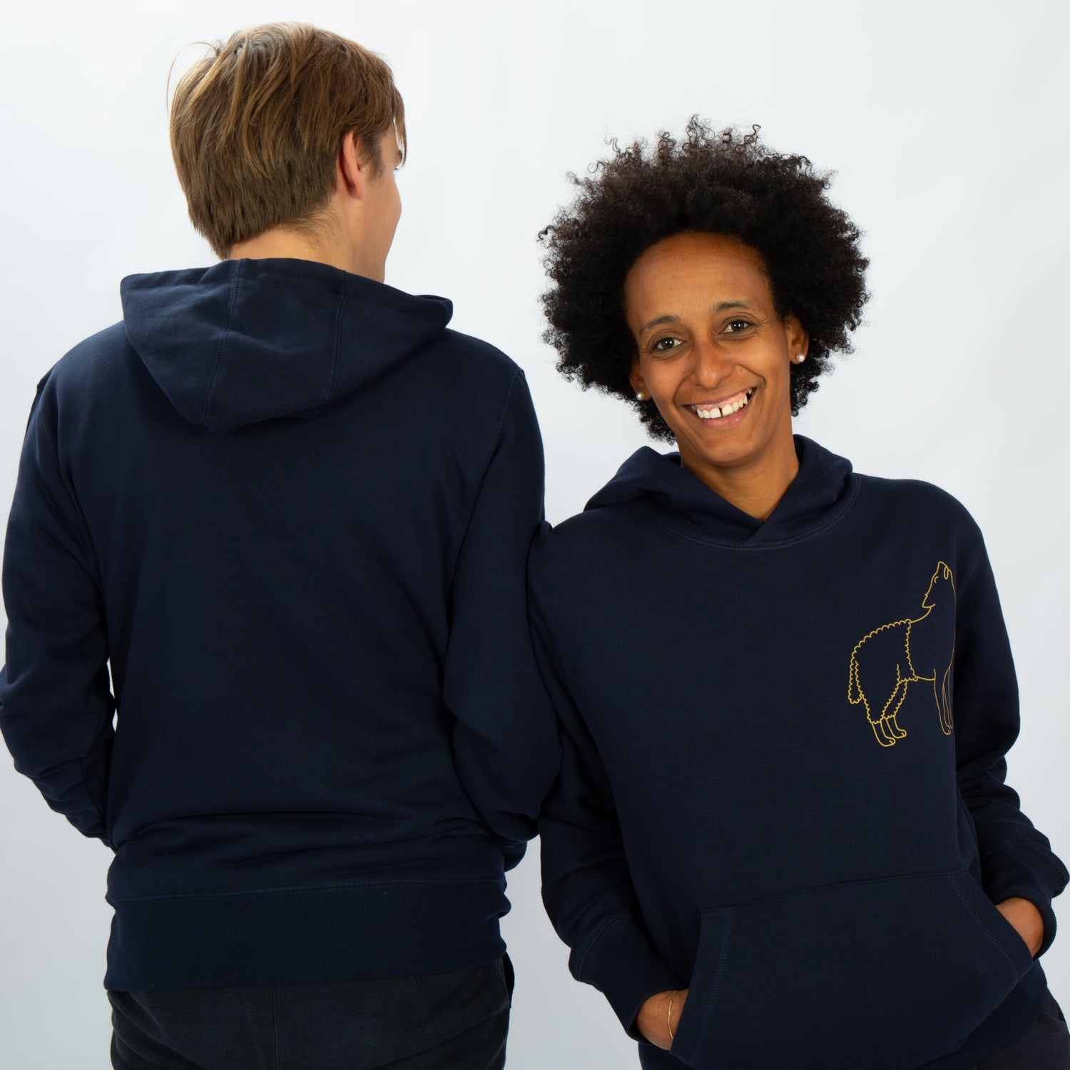 Image of HOODY MAN / WOMAN pocket on the front WOLFSHEEP navy