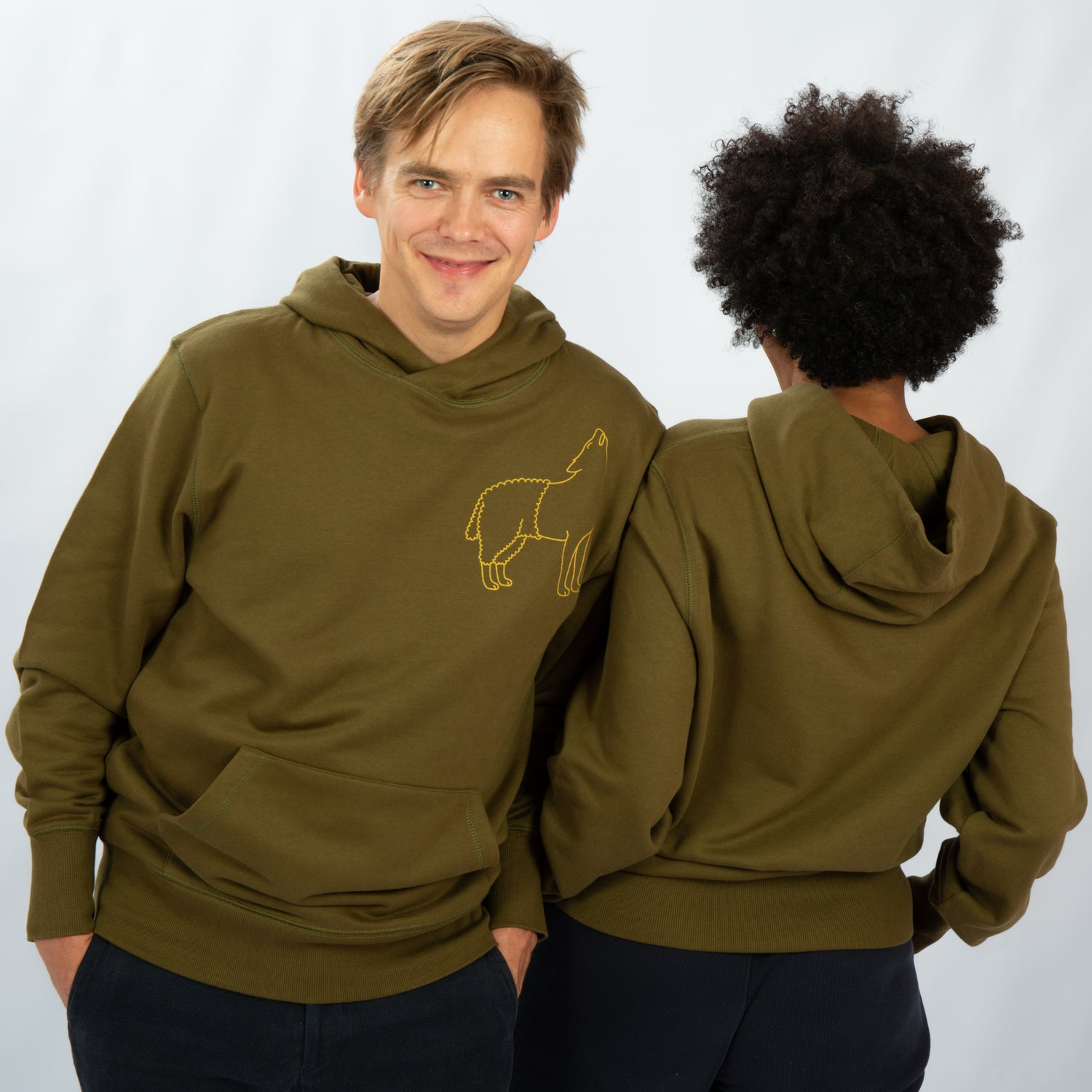 Image of HOODY MAN / WOMAN pocket on the front WOLFSHEEP khaki