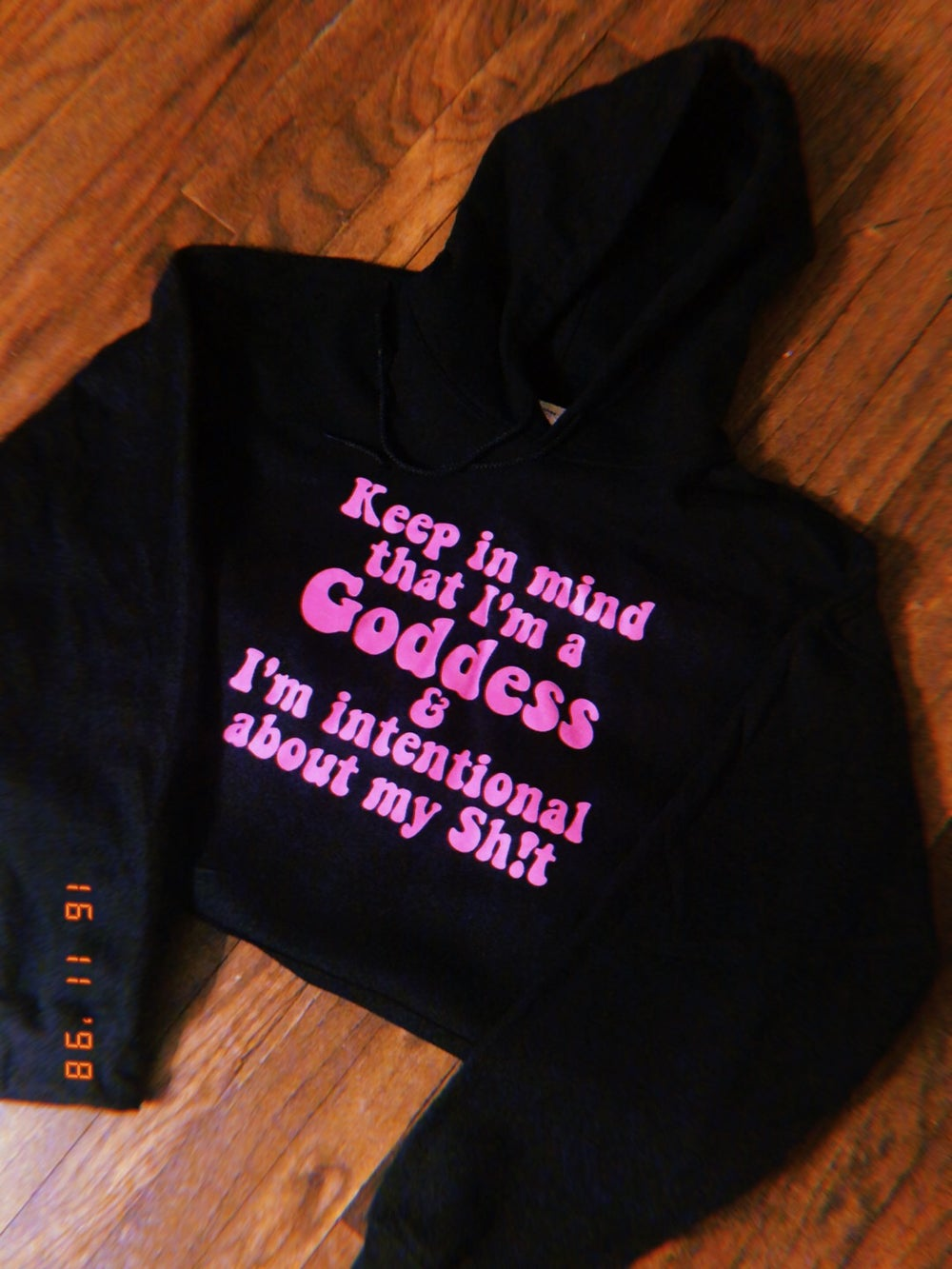 Image of Intentional Goddess tee in Black & Hot Pink HOODIE