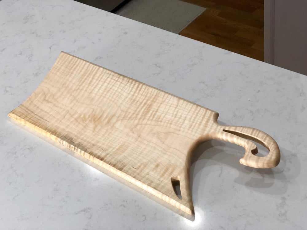 """Image of Tiger Maple Serving Board - """"The Cleaver"""""""