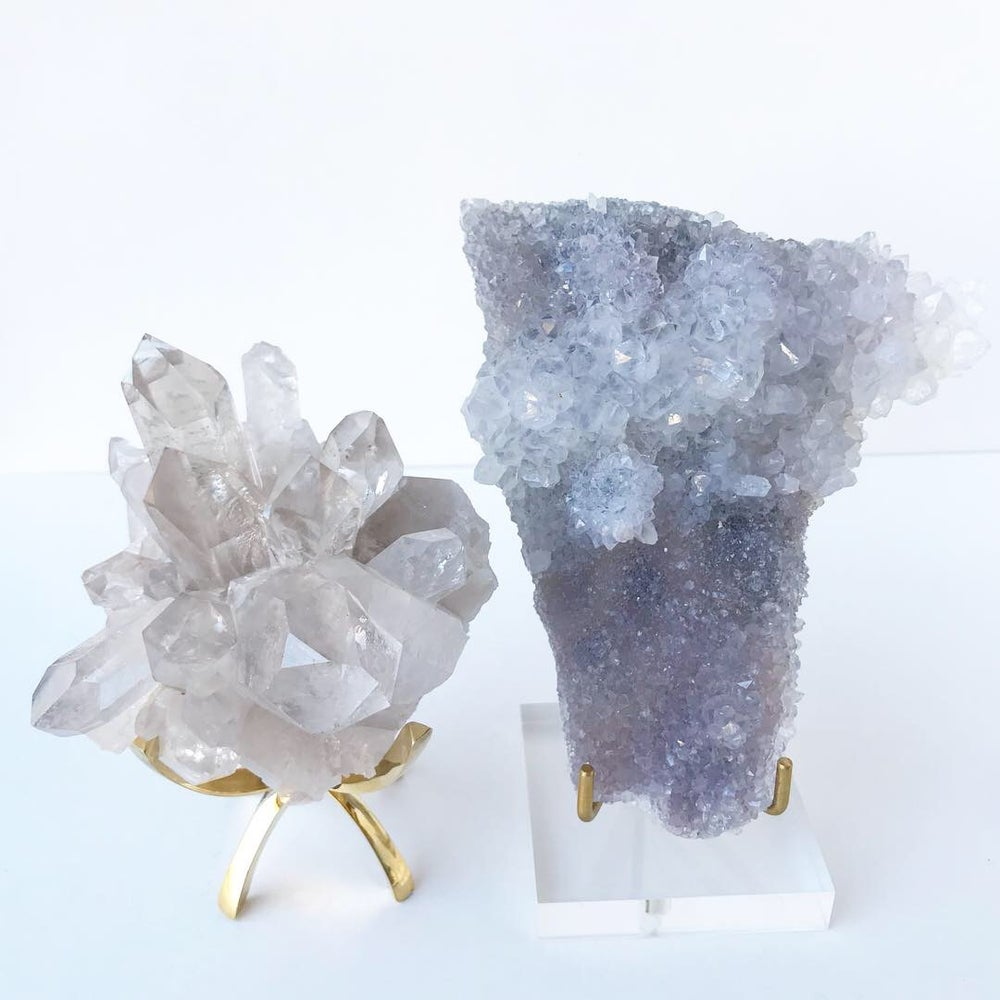 Image of Amethyst Spirit Quartz Crystal no.568 + Lucite and Brass Stand Pairing